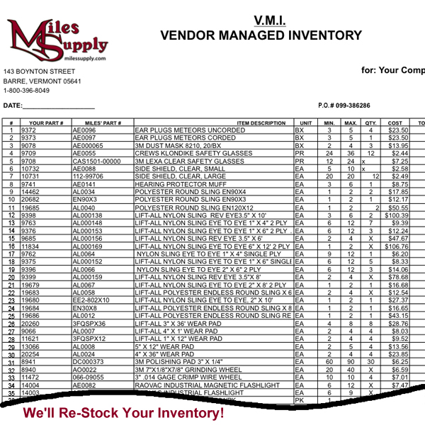 Miles Supply Vendor Management